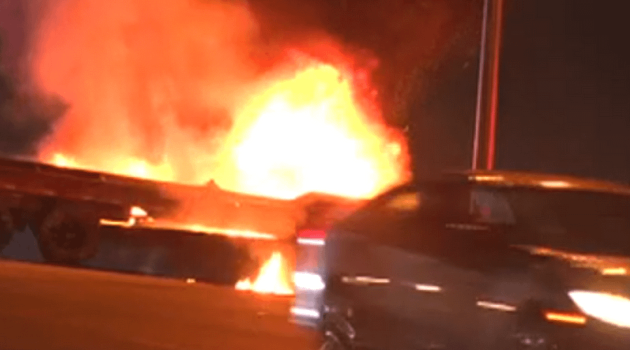 Fiery accident involving SUV and tractor-trailer in Miami